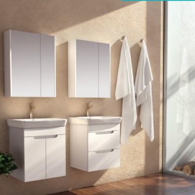 Шкаф за баня висящ Касерта 50см бял 2 врати
