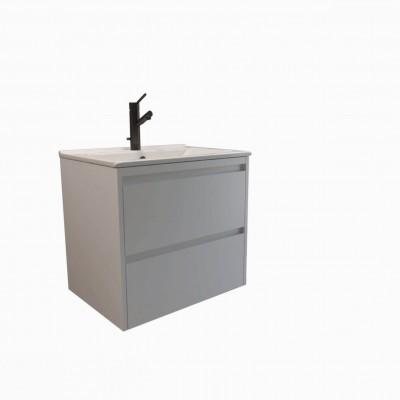 Шкаф за баня висящ Beranjena 55см бял 2 чекмеджета