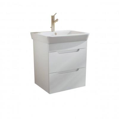 Шкаф за баня висящ Касерта 60см бял 2 чекмеджета