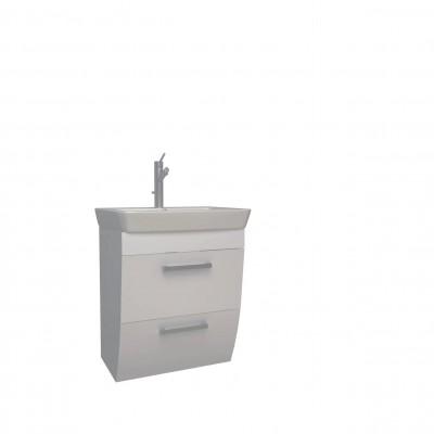Шкаф за баня висящ Round 60см бял 2 чекмеджета