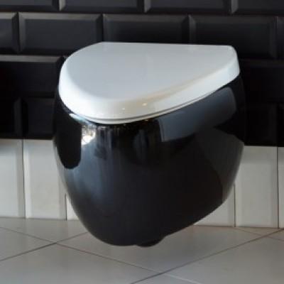 Тоалетна Чиния Висяща Moai 8604/8609В Плавно Падане Бяло и Черно