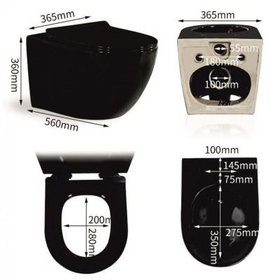 Тоалетна чиния висяща с бидетна функция 3755В черна