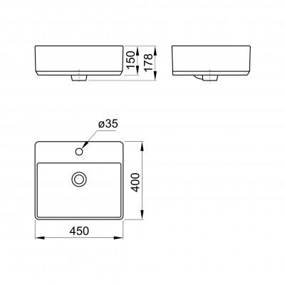 Мивка за Баня Върху Плот Geometry 450Х400Х178